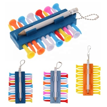Novelty gift smart unique cheap plastic ball marker divot repair tool custom mini wood pencil 12 pcs golf tee set with key chain