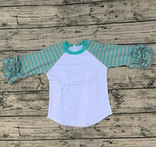 latest new model shirts boutique kids Solid raglan tshirts icing children ruffle shirt aqua and peach stripe ruffle raglan shirt