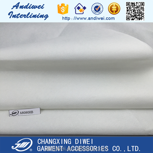 100% polyester fusible heavy stiff non-woven fabric, interfacing cloth