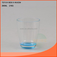 Sprayed 260ml glass cup with light blue bottom