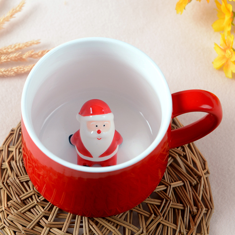 Santa snowman christmas tree coffee mug for Christmas