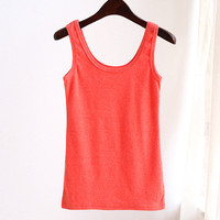 Hot sale cheap summer solid simple casual sport backless fashion tank top vest pictures of girls cotton tops