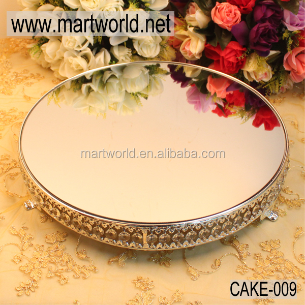 Mirror face wedding cake stand with crystal,coin shaped cake stand wedding for wedding&party&hotel decoration(CAKE-009)