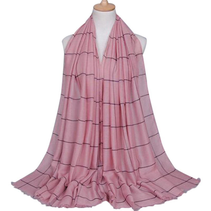 Popular design pink muslim women long scarf printed check voile scarf shawl hijab