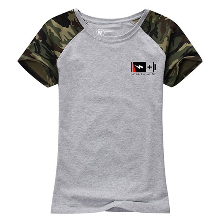 Wholesale clothing fashion camo design raglan sleeve women for Custom t shirts camouflage