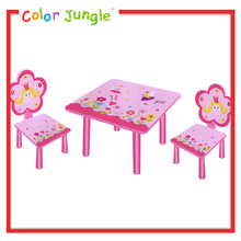 Pink kids wooden study table designs, cheap study table wholesale