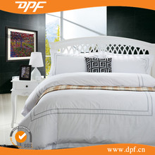 Wholesale Hotel Bedding 100% cotton bed sheet white embroidery luxury hotel bed linen
