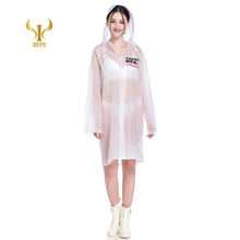 Fashion Long Raincoat Eva Adult Raincoat Logo Printing Reuseable Plastic Poncho Raincoat