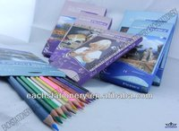 Hot!!! 7Inches Standard Drawing Wooden Triangle Color Pencil With Color Box Packing