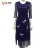 Double layers skirts style 3 / 4 sleeve women chiffon cocktail dress with sleeves
