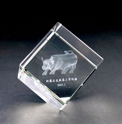 Laser Engraved Crystal American Football Cube