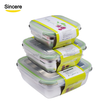 Eco Friendly Stainless Steel Bento Lunch Box Food Container Set With Airtight Lids Reused