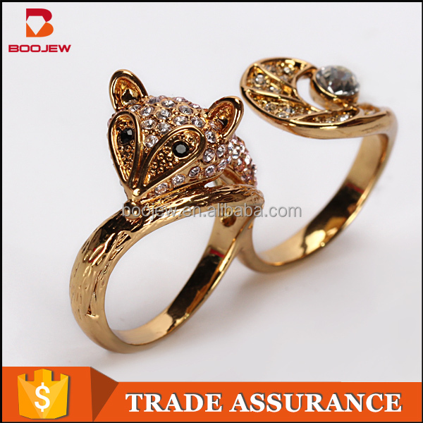 2016 New fashion creative vivid lovely squirrel animal sex women 2 finger ring with big stone