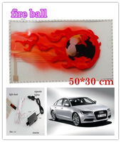 New Fire Ball design 50*30cm Auto Sound music Activated Equalizer Glow Flash Light Sticker