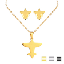 Wholesale Newest Design Gold Necklace 316L Stainless Steel High Polished Airplane Jewelry Set