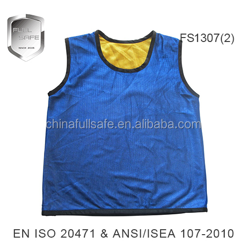 100% polyester material blue mesh safety vest