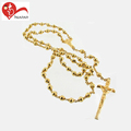 High Quality 18K Gold Plated Polishing Cross Rosary Chain Bulk Charms Stainless Steel Jesus Pendant Jewelry