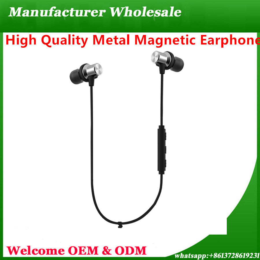 New Products 2017 Metal Magnetic Wireless Bluetooth Headphone Earphone Vr Headset Tws Earbud Sport Stereo Mobile Phone wholesale