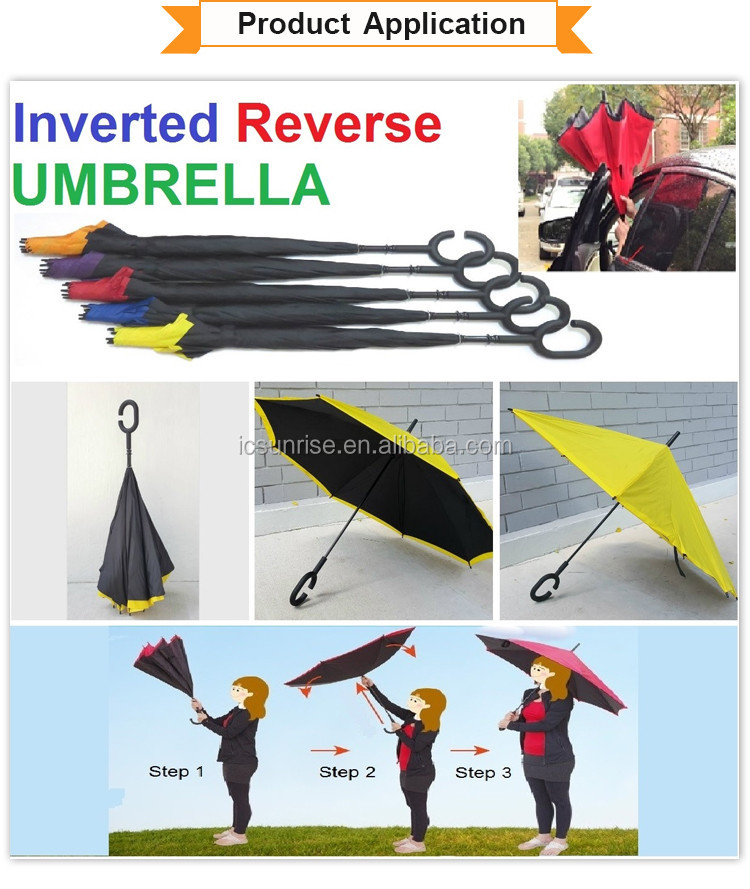 Customize Logo Double Layer Inside Out C Shape Handle Reverse Umbrella