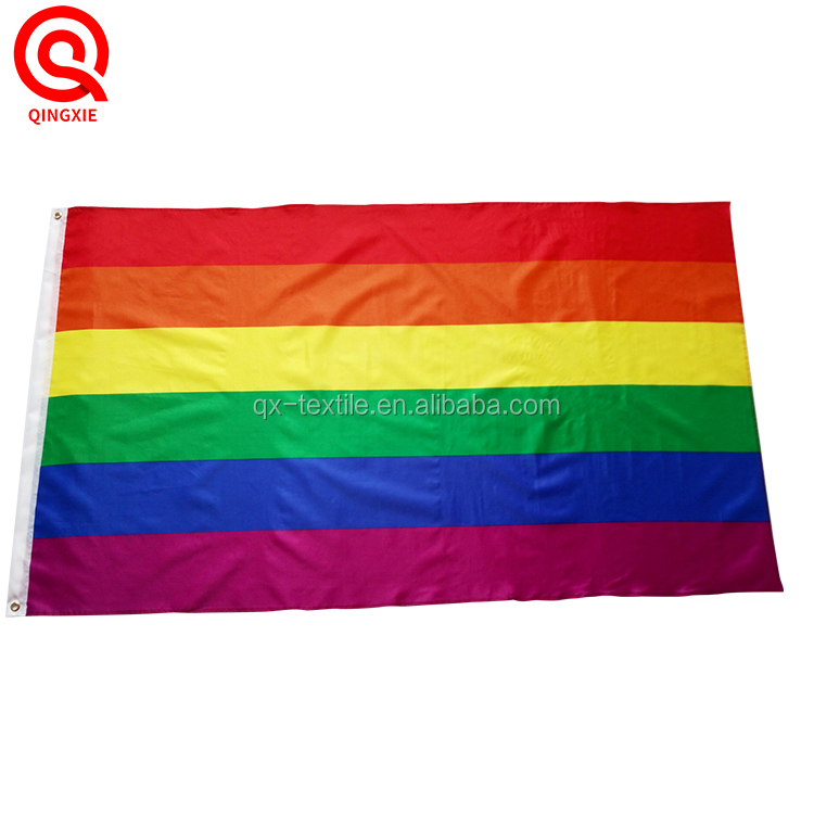 Cheap Custom Dyed Sublimated Printing Gay Rainbow Flag With Grommets