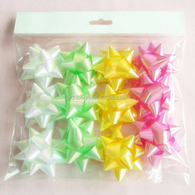 12 Pcs/Poly Bag,Plastic Ribbon Star Bows Made by Machine for Everyday /Gift packing decoration