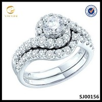 14k white gold plated 925 silver diamond bridal wedding band/ring set