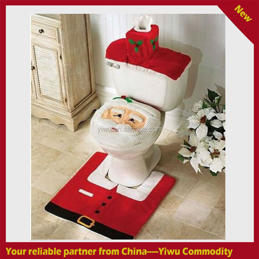 2015 Hot Fancy Santa Toilet Seat Cover and Rug Bathroom Set Contour Rug Christmas Decorations For Natal Navidad Decoracion