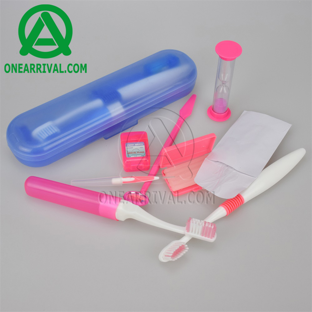 CE FDA Approved Oral Care Travel Clean Kit Dental Orthodontics Kit with Orthodontic Toothbrush in Plastic Box