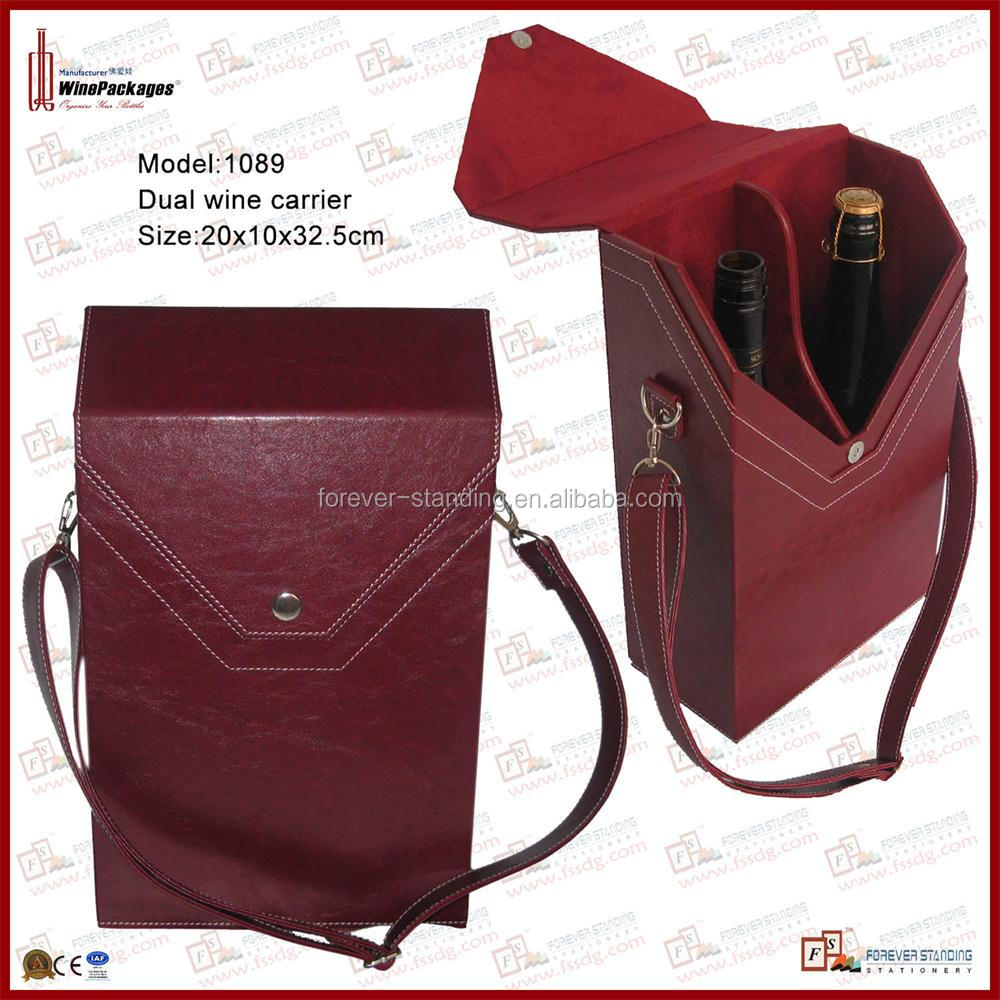 Leather handmade portable dual wine carrier, wine bag