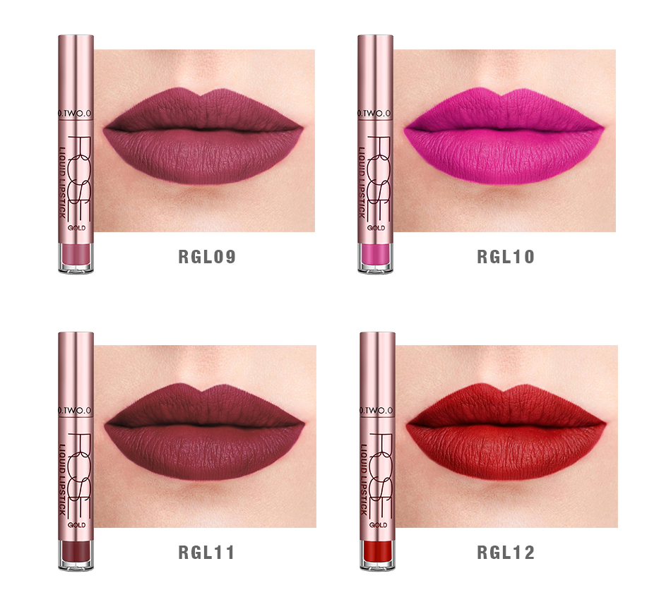 Free Shipping Semi Matte Liquid Lipstick Guangzhou O.TWO.O Cosmetics Kiss Proof
