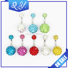 Summer Jewelry Double Crystal Ball Navel Jewelry Sexy Belly Button Piercing for Women