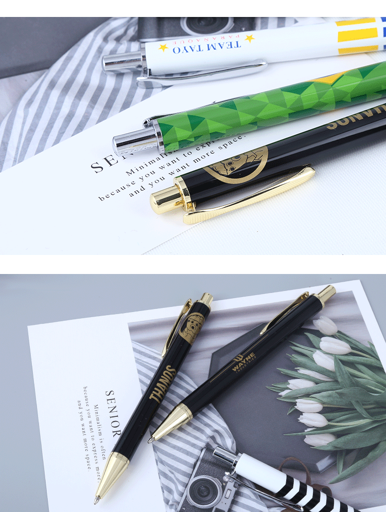 2019 aluminum ball pen metal click action pen promotional colorful gift logo pen