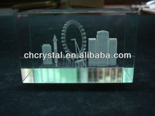 3d laser engraving glass block with London Eye ,laser etched crystal MH-F0276