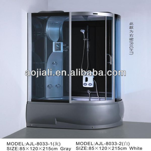 AJL-8033-2 pinghu complete hydromassage sliding steam shower bathroom/shower cabinet