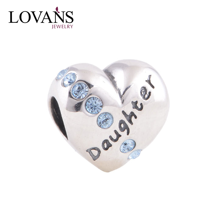 Fashionable Jewelry Mother And Daughter Love Bead Custom Engraved Beads YZ307