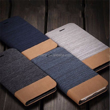 Card Holder Slot Mobile Canvas Flip Leather Book Folio Phone Case for HTC M8