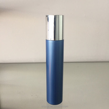 blue Durable 100ml round bottle with sprayed silver cap