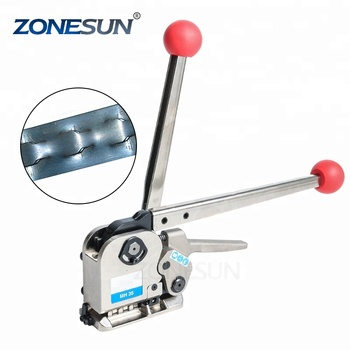 ZONESUN HOT SALE Manual Buckle Free MH35 Steel Strap Belt Band Package Baler Strapping Machine