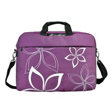 17 inch purple contour flowers floral print laptop computer briefcase messenger shoulder bag carrying case
