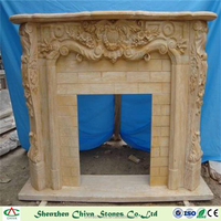Natural Stone Marble Wall Mounted Yellow Limestone Fireplace Marble Fireplace Indoor