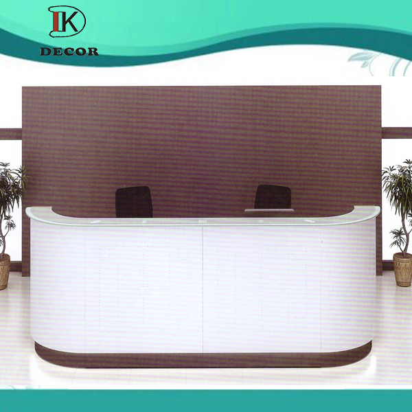 Luxury Glass Panel White Wood Reception Desk With Back Wall