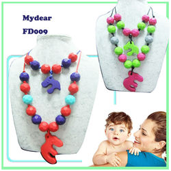 Silicone Teething Necklace/Food Grade FDA BPA Free Baby Chewing Silicone Rubber Necklace