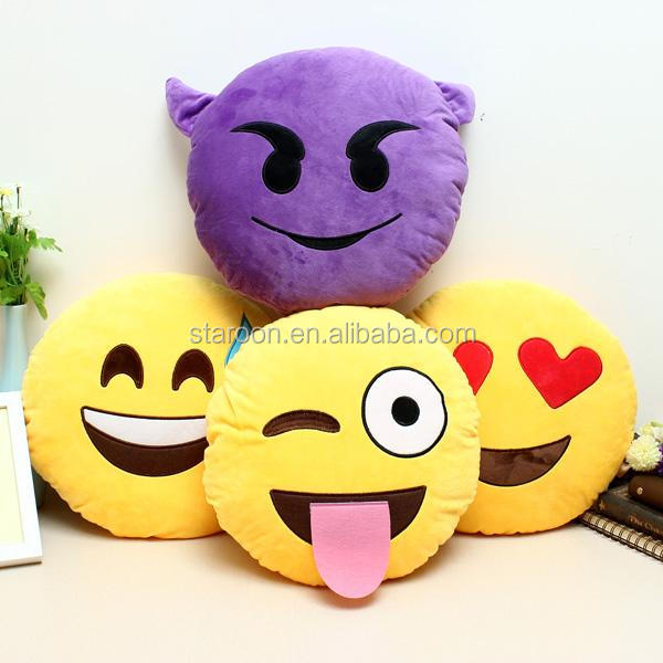 factory sale custom short plush emoji pillow for younger
