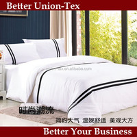 Wholesale fully combed 300T sateen white king size embroidery luxury hotel bedding set