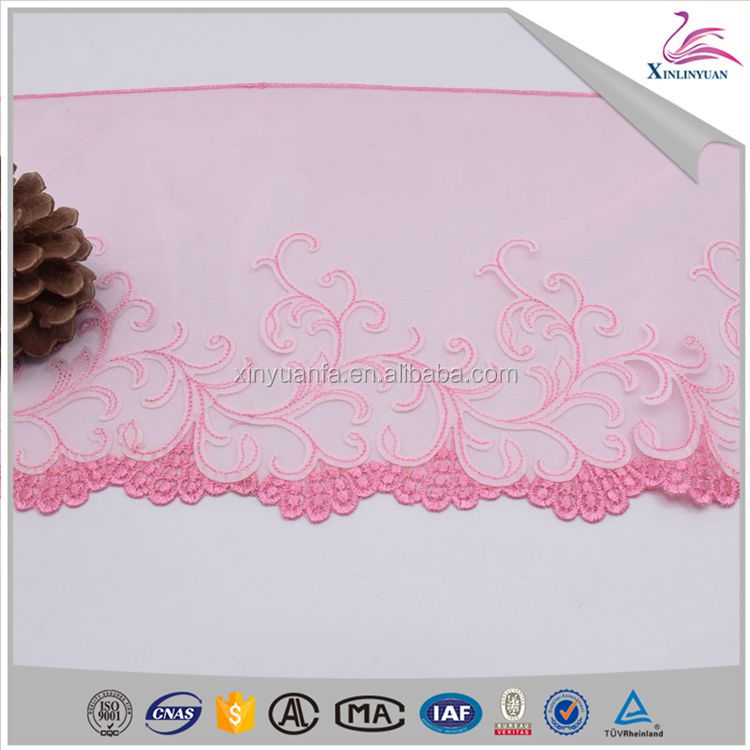 Customized beautiful design embroidery lace fabric for underwear