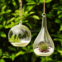 Good quality hand made factory sell haning glass vase , glass terrarium , flower glass for wedding