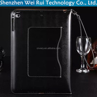 factory luxury wallet stand with lanyard tablet pc cover for ipad5 ipad air case