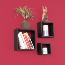 Set3 black square wall mounted shelves