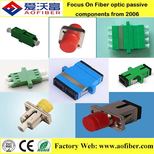 AOF From Wuxi factory price mating sleeves hybrid adaptor SC PC simplex duplex Fiber Optical Adapter