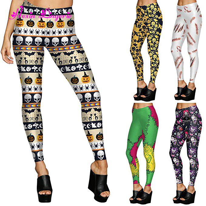Wholesale Custom Printed Skull Pattern 92 Polyester 8 Spandex Girls Leggings